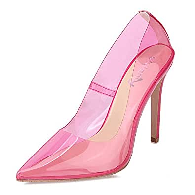 vivianly Sexy High Heels Pointy Toe Pumps Transparent Stiletto Cinderella Shoes for Women Purple Size: 6