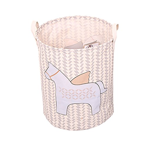 YOHEE Horse Pattern Canvas Laundry Hampers Laundry Basket Toy Storage Storage Bag With Handle (Style 2)