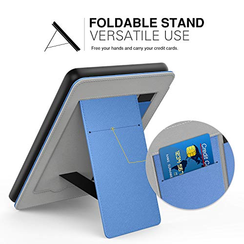MoKo Case Fits Kindle Paperwhite (10th Generation, 2018 Releases), Lightweight PU Leather Cover Stand Shell with Hand Strap for Amazon Kindle Paperwhite 2018 E-Reader - Blue