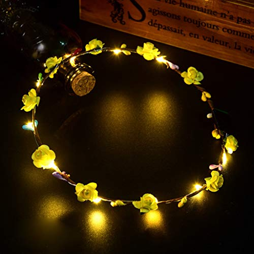 (LED Flower Crown Hairband for Women Girls,Glowing Wreath Hair Band Hair Accessory Photography Wedding Festival Holiday Cosplay Christmas Halloween Party Valentine's Day New Year Decoration)