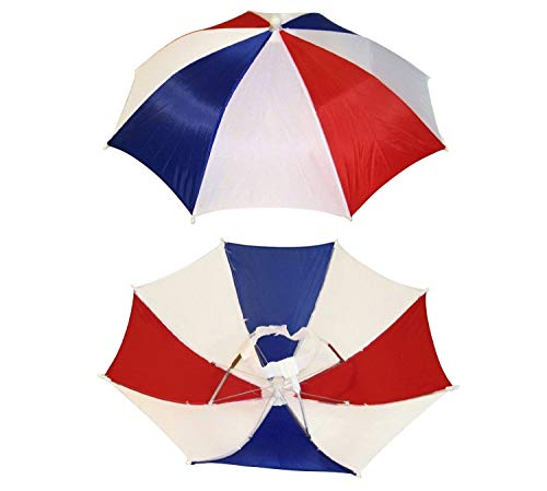 4 Pack Umbrella Hat Cap Hands Free with Head Strap for Sun Rain Red White Blue ()