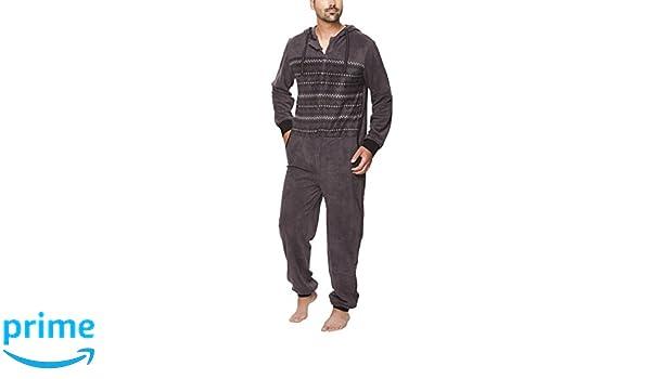 SLOUCHER - Mono Pijama de Hombre de Tejido Polar con Cierre de Cremallera y Capucha: Amazon.es: Ropa y accesorios