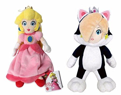 Sanei Super Mario Set - Neko Cat Rosalina & All Star Princess Peach Plush -