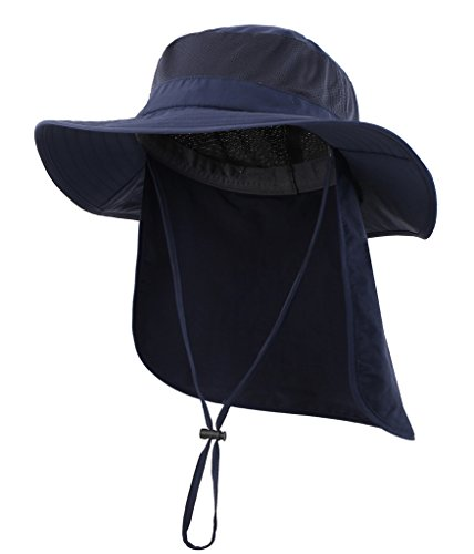 Home Prefer Mens Outback Safari Hat UPF50+ Sun Hat Large Fishing Cap Neck Flap Bucket Hat Navy Blue