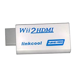 Linkcool Wii to HDMI 720P / 1080P HD Output Upscaling Converter 3.5mm Audio Video Output - Supports All Wii Display Modes,Convert Wii To HDMI