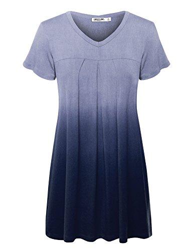 Love Dip Dye - WT1085 Womens Dip Dye V Neck Short Sleeve Pleats Tunic Top XXL NAVY