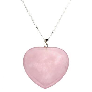 Amazon large rose quartz stone heart pendant sterling silver amazon large rose quartz stone heart pendant sterling silver curb chain necklace 16 jewelry aloadofball Choice Image