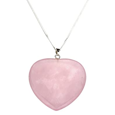 amazon stone natural pink gemstone pendant dp quartz crystal raw necklace rose com