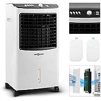 oneConcept MCH-2 V2 mobiles Klimagerät Luftkühler Ventilator zusätzliche Luftbefeuchtungs- und Luftreinigungsfunktion (65 Watt, 400 m³/h Luftdurchsatz, inkl. 2 x Kühlakku) schwarz-weiß