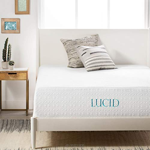 LUCID 14 Inch Medium-Plush Memory Foam Mattress - Ventilated Gel Memory Foam + Bamboo Charcoal Infused Memory Foam - CertiPUR-US Certified - 10-Year Warranty - Queen (Best Foundation For Memory Foam Mattress)