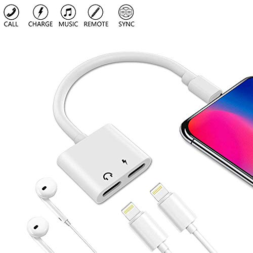 Nicexx Compatible Adapter & Splitter Replacement for iPh 7/7 Plus / 8/8 Plus/X, Headphone 8 Phone Jack Aux Audio & Charging & Calling & Sync Cable Connector Earphone Charger