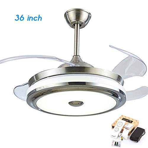 FINE MAKER 36 inch Retractable Ceiling Fan with Light Modern Remote Control Fandelier Retractable Invisible Blade LED Three-Color Light for Living Room Bedroom Restaurant
