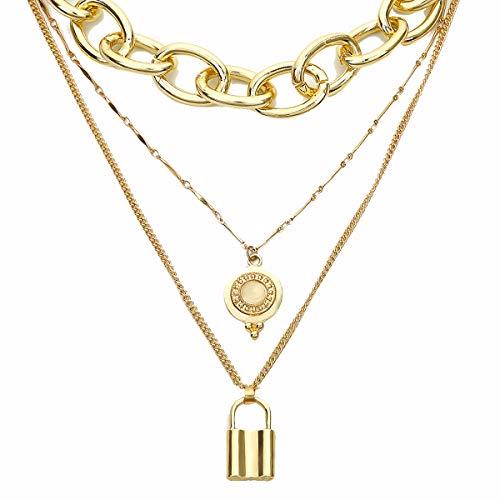 lxylxy Golden Padlock Necklace for Women - Metallic Exaggerated Punk Padlock Necklace - Punk Necklace Jewelry/Three-Piece Suit for Padlock Necklace - Best for Girlfriend -