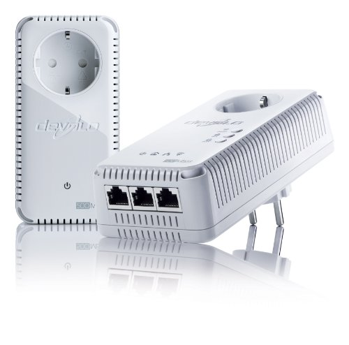 devolo dLAN 500 AV Wireless+ Starter Kit (500 Mbit/s, WLAN Repeater, 3 LAN Ports, Powerline) weiß