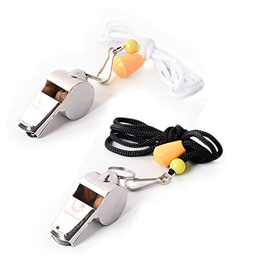 [Voted #1 Whistles] Premium Metal Whistle Pack of 2 with Adjustable & Removable Lanyard by RunTasty. Ideal for Teacher, Football / Basketball / Soccer Coach, Sports, Safety, Emergency or Protection! (Baseball Coach Whistle compare prices)
