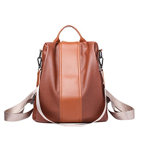 Anguang Women's Large Capacity PU Leather Anti-Theft Backpack Rusksack School Shopping Shoulder Handbag Brown