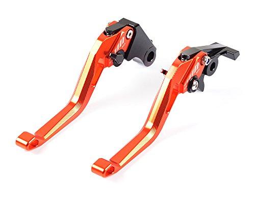 Tencasi Orange CNC New Short Rhombus Hollow Adjustable Brake Clutch Lever for KTM 990 Superduke 2005-2012, 690 Duke 2008-2011, RC8/R 2009-2016, 1290 Super Duke R 2014-2018