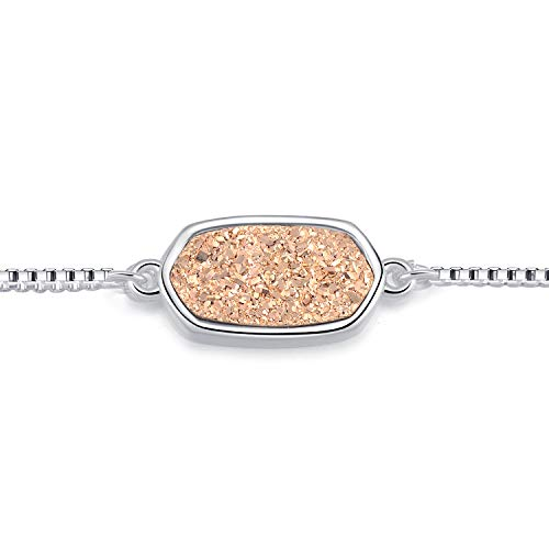- Ellena Rose 100% Natural Druzy Bar Bracelet - 14K Gold Plated Dainty Oval Druzy Link Bracelet Women, Adjustable in Length (Champagne)