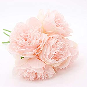 Yunuo 1Pc 5 Flower Heads Peony Artificial Silk Flowers for Wedding Brial Bouquet Home Party Decor 1