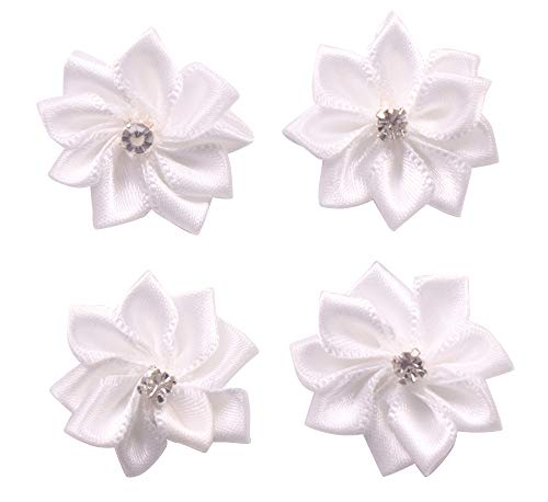 (YAKA 60Pcs White Satin Ribbon Flowers Bows Rose W/Rhinestone Appliques Craft Wedding 1.1inch)