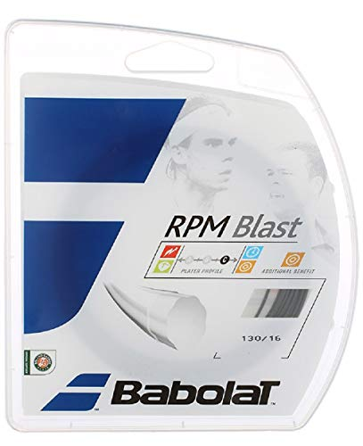 Babolat RPM Blast 17 Gauge Poly Ridged Tennis Racquet String Sets 2-Pack (2 Sets Per Order) - Best for Durability and Spin