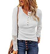 Hotapei Women's Long Sleeve V Neck Tunic Tops Front Button Up Shirt Blouse