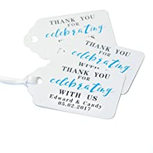 50PCS Personalized Wedding Favor Tags, Wedding Thank You Tag Stamp, Wedding Favor Tags With String, Customizable with Names & Date