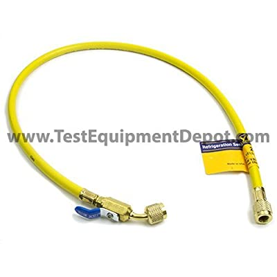 """Yellow Jacket 29036 Plus II Hose with 1/4"""" Compact Ball Valve Fittings, 36"""", Yellow"""