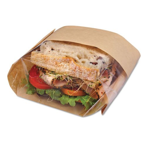 Bagcraft Papercon Dubl View Sandwich Bags, Paper, 9 1/2w x 5 3/4d x 2 3/4h, Brown - Includes 500 bags.