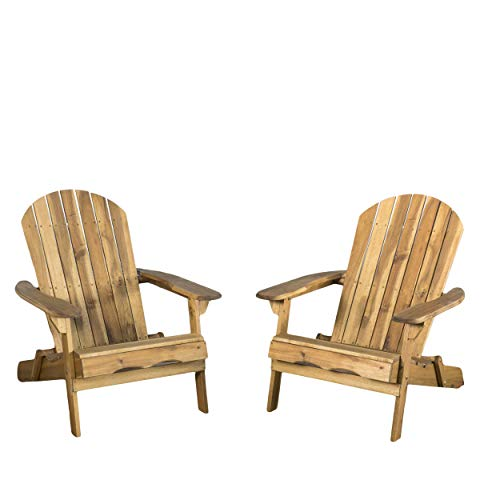 Christopher Knight Home 296698 Denise Austin Home Milan Brown Outdoor Folding Wood Adirondack Chair (Set of 2), Set of Two, Natural -