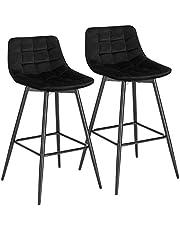 WOLTU Zwart Barkrukken Set van 2 Stal Metalen Poten Barstoelen Fluweel zitting met Rugleuning En Voetensteun,BH143sz-2