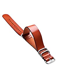 20mm/22mm Watch Band, Brown Genuine Leather Watch Strap, Pin Buckle for Clock Replacement Soft Replacement Wrist Bracelet