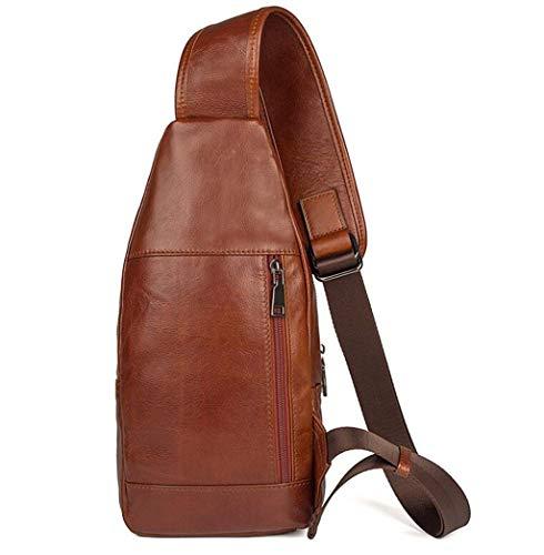 Hombre Bolsa Oscuro Para Cuero Sling Mochila Dafrew Bags Deporte Brown Marron Bandolera Negocios Bolso Viajes Mensajero De Senderismo color Casual UwzgxYq