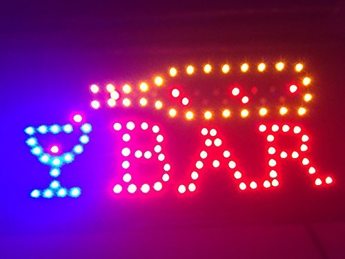 (LED Bar Sign - Open Bar Led Neon Motion Light Sign. On/off with Chain)
