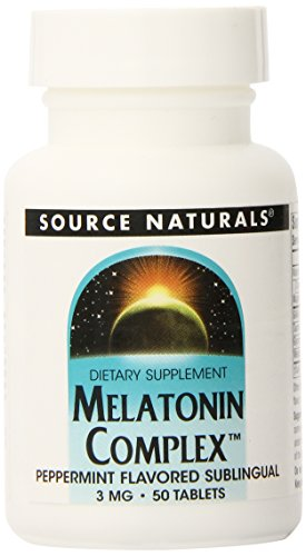 Source Naturals Melatonin Complex, menthe poivrée, 3 mg, 50 comprimés