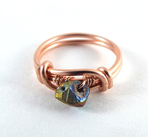 Raw Peacock Druzy SIZE 7 Wire Wrapped Ring Rose Gold (Druzy Wire)