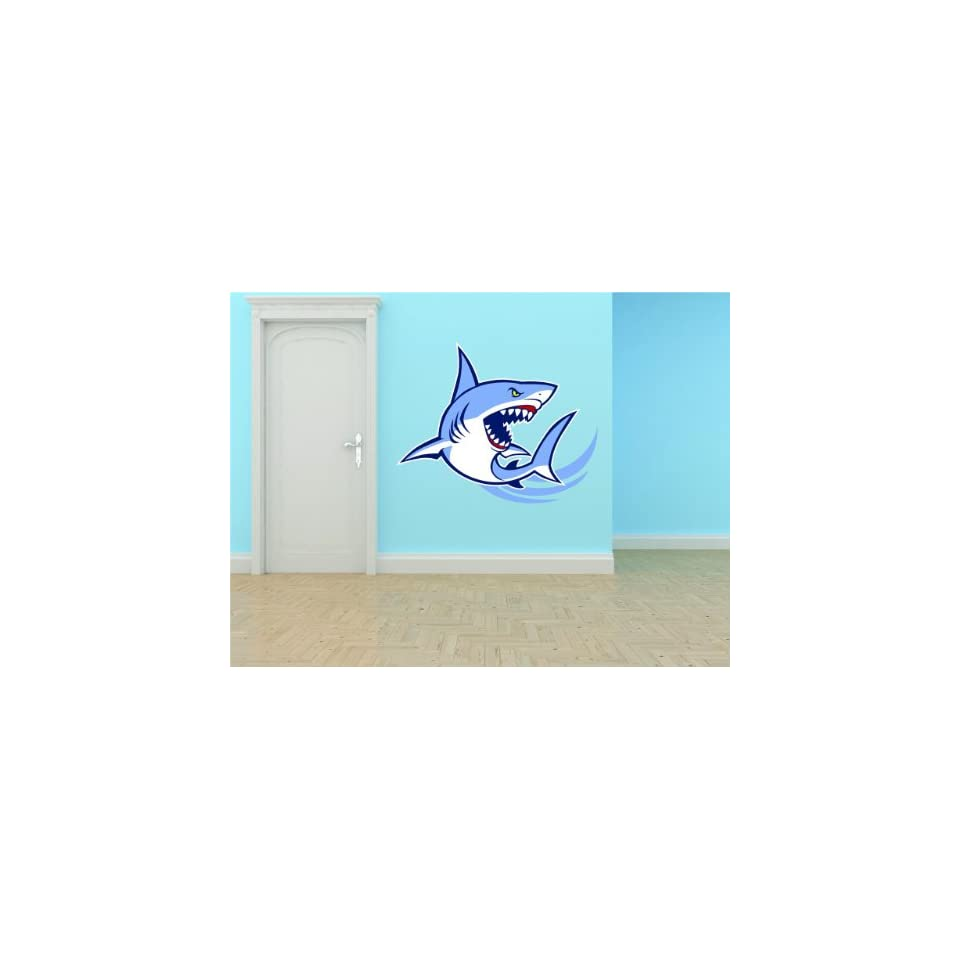 PRESCHOOL CLASSROOM Angry Shark Fish Wall   Best Selling Cling Transfer Decals Vinyl Peel & Stick Stickers Picture Art Mural Kids Boy Girl Color 506 Size  18 Inches X 24 Inches   22 Colors Available   Wall Decor Stickers