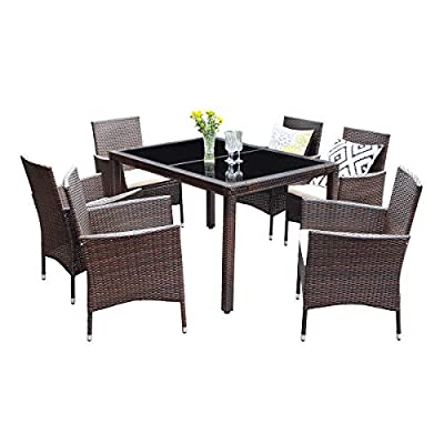 Wisteria Lane Outdoor Wicker Dining Set, 7 Piece Patio Dinning Table Brown Wicker Furniture Seating (Beige Cushions) - HANDWORK RATTAN - Constructed from strong galvanized steel frame and hand woven weather-resistant PE rattan won't rust or fade. A handsome décor to your patio, garden, park, or yard EXQUISITE DESIGN - Modern and stylish lines and the black tempered glass table top make this wicker dining set look fashionable and add the beauty for your courtyard COMFORTABLE CHAIR - Deep armchair with soft padded cushions to provide cozy seating experience.Enjoy a good time with your family and friends - patio-furniture, dining-sets-patio-funiture, patio - 41VwbS0kWOL. SS400  -