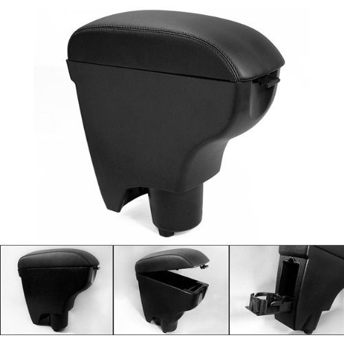 Leather Black Console Center Armrest for Toyota Yaris 06-10 2006 2007 2008 2009 2010 Brand New On Sale Big Storage Padding Latch Cover w/ Cup Holder