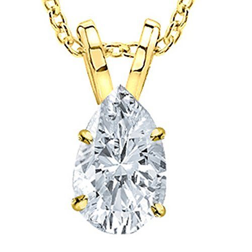 0.57 1/2 Carat 14K Yellow Gold Pear Diamond Solitaire Pendant Necklace F Color SI1 Clarity Clarity Center Stones.