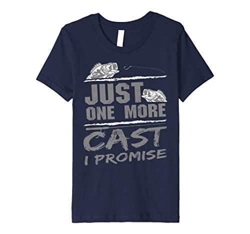 Kids Just One More Cast I Promise Fishing Addicts T-Shirt 12 Navy