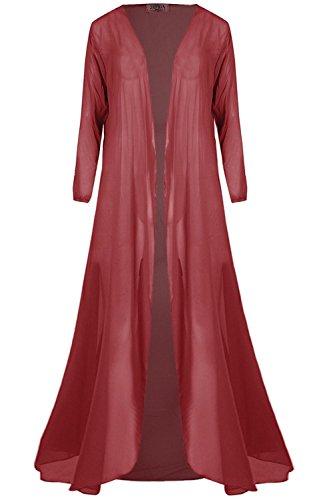 Womens Ladies Chiffon Waterfall Open Front Long Sleeve See Thru Maxi Cardigan