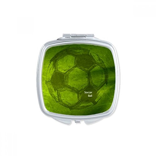 DIYthinker Soccer Football Sports Green Square Compact Makeup Pocket Mirror Portable Cute Small Hand Mirrors Gift by DIYthinker