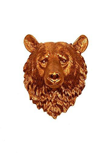 The Teddy | Copper Resin Bear Head | Resin White Faux Taxidermy | Hanging Wall Decor Sculpture | Animal Mounts | Trophy Taxidermy (Bear Teddy Resin)