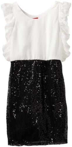 Ruby Rox Big Girls' Sequin Skirt And Chiffon Top Dress, Ivory/Black, 7