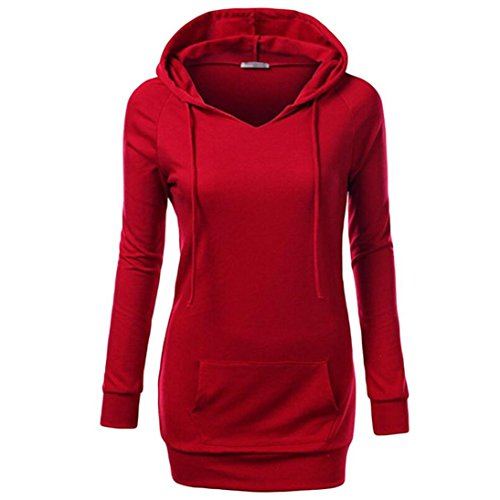 Women Tops, Gillberry Womens Long Sleeve Top Hooded Casual Sweatshirt Solid Coat (Red, - Nyc Eyeglass Store