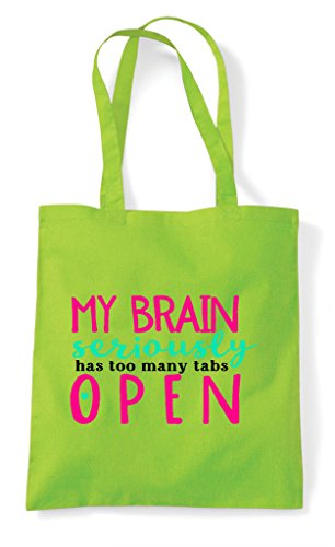 Many Too Has Lime Tote My Tabs Seriously Shopper Bag Brain Open qfHn11wxIR