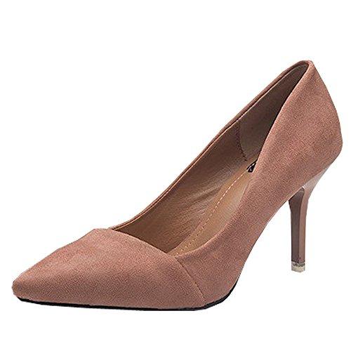 Tacón KINDOYO 6CM Alto Para Pointed Rosa Elegante De 8CM Negro Mujeres Stiletto Toe de tacón Zapatos Zapatos xEArEqg