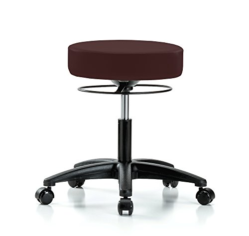 Perch Stella Rolling Adjustable Stool Medical Salon Spa Massage Tattoo Office 18.5'' - 24'' (Soft Floor Casters/Burgundy Fabric) by Perch Chairs & Stools