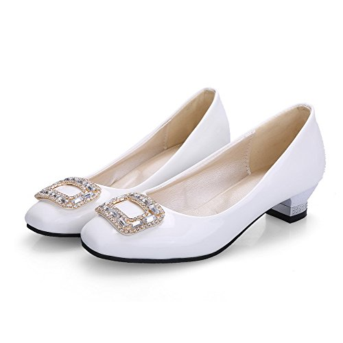 AllhqFashion Mujeres Puntera Cuadrada Cerrada Mini Tacón De salón con Diamante de Imitación Blanco